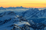 Sunrise view over the Alps from the top of Monte Rosa, Aosta Valley, Italy Impressão fotográfica por  ClickAlps