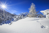Rays of winter sun illuminate the snowy landscape around Maloja Canton of Engadine Switzerland Euro Impressão fotográfica por  ClickAlps