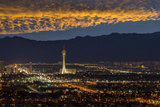 USA, Nevada, Las Vegas, Stratosphere and downtown at night Photographic Print by Christian Heeb