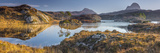 UK, Scotland, Highland, Sutherland, Lochinver, Loch Druim Suardalain, Mount Canisp (centre) and Mou Photographic Print by Alan Copson