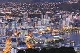 New Zealand, North Island, Wellington, elevated city skyline from Mt. Victoria, dawn Fotografie-Druck von Walter Bibikw