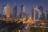 Qatar, Doha, Doha Bay, West Bay Skyscrapers, elevated view, dawn Reproduction photographique par Walter Bibikw