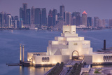 Qatar, Doha, The Museum of Islamic Art, designed by I.M. Pei, elevated view, dawn Reproduction photographique par Walter Bibikw