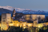 View at dusk of Alhambra palace with the snowy Sierra Nevada in the background, Granada, Andalusia, Photographic Print by Stefano Politi Markovina