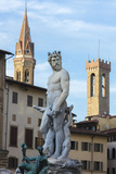 Fountain of Neptune frames the Palazzo del Bargello, Florence, UNESCO World Heritage Site, Tuscany, Photographic Print by Roberto Moiola