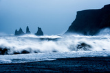 Crashing waves on Black Sand Beach, Iceland, Polar Regions Fotoprint van John Alexander