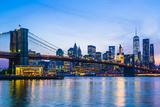 Brooklyn Bridge and Manhattan skyline at dusk, New York City, United States of America, North Ameri Photographic Print by Fraser Hall