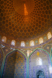 Interior of the dome of Sheikh Lotfollah Mosque, Isfahan, Iran, Middle East Photographic Print by James Strachan