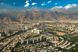 Aerial view of Tehran facing North towards the Alborz Mountains, Tehran, Iran, Middle East Photographic Print by James Strachan