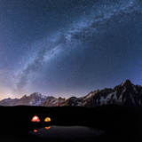 Panorama of Mont Blanc, Mont De La Saxe and Grand Jorasses under the starry sky, Graian Alps, Courm Photographic Print by Roberto Moiola