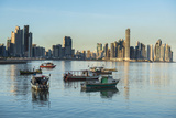 Little fishing boats and the skyline of Panama City, Panama, Central America Photographic Print by Michael Runkel
