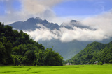 Thatched cottages and rice paddy fields with misty mountains behind, Mai Chau, Vietnam, Indochina,  Impressão fotográfica por Alex Robinson