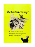 The Birds, Top: Tippi Hedren, Bottom Right: Alfred Hitchcock on CAnadian Poster Art, 1963 Poster
