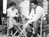 Roman Holiday, Audrey Hepburn, Gregory Peck, Playing CArds on Set, 1953 Fotografia