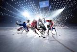 Collage from Hockey Players in Action Fotografisk trykk av Eugene Onischenko