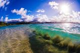 Wave breaking off Popoia Island (Flat Island), Kailua Bay, Oahu, Hawaii Fotografisk trykk av Mark A Johnson