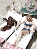 Chimpanzee and a Woman Sunbathing Foto