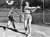 Two Women Playing Baseball Photographie