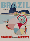 Braniff Airways Travel Poster, Brazil Fotografie-Druck von David Pollack