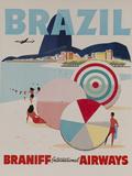 Braniff Airways Travel Poster, Brazil Impressão fotográfica por David Pollack