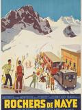 Rochers De Naye, Swiss Ski Travel Poster Photographic Print by David Pollack