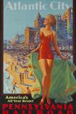 Pennsylvania Railroad Travel Poster, Atlantic City Bathing Beauty Fotografie-Druck von David Pollack