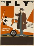 Fly Anywhere Any Time, 1930 Curtiss Aircraft Advertising Poster Valokuvavedos tekijänä David Pollack