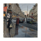 Regent Street in Rain with Taxi, 2018 Giclee Print by Tom Hughes