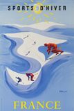 Sports D'hiver, France, French Travel Poster Winter Sports Fotografie-Druck von David Pollack
