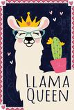 Llama Queen Kunstdrucke von ND Art