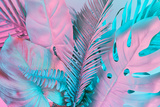 Tropical and Palm Leaves in Vibrant Bold Gradient Holographic Colors Photographic Print by  Zamurovic