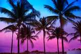 Miami Beach South Beach Sunset Palm Trees in Ocean Drive Florida Photographic Print by  holbox