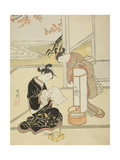 The Evening Glow of a Lamp , from the series Eight Views of the Parlor , c.1766 Giclee Print by Suzuki Harunobu