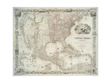 Map of the United States, British provinces, Mexico, West Indies and Central America, 1850 Gicléedruk van  American School