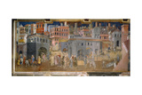 The effects of good government in cities Giclée-Druck von Ambrogio Lorenzetti