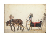 Pageant sleigh in parade, c.1640 Giclée-tryk af  German School