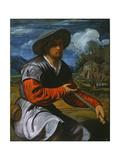 Shepherd with a Flute, c.1525 Giclée-tryk af Giovanni Girolamo Savoldo
