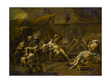 The Supper of Pulcinella and Colombina, c.1725-1730 Giclée-tryk af Alessandro Magnasco