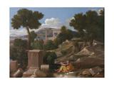 Landscape with Saint John on Patmos, 1640 Stampa giclée di Nicolas Poussin