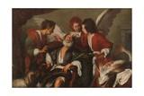 Tobias Curing His Father's Blindness, 1630-35 Stampa giclée di Bernardo Strozzi