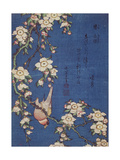 Bullfinch and weeping cherry-tree, pub. c.1834 Giclee Print by Katsushika Hokusai