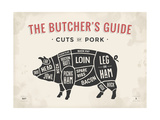 Cut of Meat Butcher Diagram - Pig Plakater af  foxysgraphic