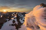 Ice Formations in Roque De Los Muchachos at Sundown, Island La Palma, Canary Islands, Spain Photographic Print by Rainer Mirau