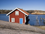 Sweden, Bohus, West Coast, Kattegat, Fishing Hut in Fjallbacke, Jetty Photographic Print by K. Schlierbach