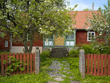 Sweden, Smaland, Oland, Sweden Traditional House, Garden, Wooden Blossoming Fruit Trees, Spring Photographic Print by K. Schlierbach