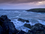 Ireland, Kerry, Heavy Seas with Spray on the Rocky Coast of Blasket Sound, Shimmering Evening Light Photographic Print by K. Schlierbach