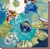 Garden Blues IV Stretched Canvas Print by Leslie Bernsen