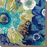 Garden Blues I Stretched Canvas Print by Leslie Bernsen