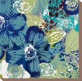 Garden Blues II Stretched Canvas Print by Leslie Bernsen