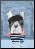 French Bulldog with Arc de Triomphe Mounted Print by  Barruf